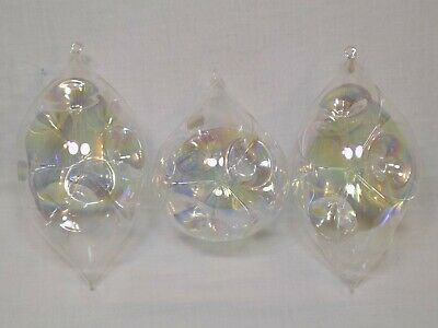 Vintage Iridescent Glass Christmas Tree Ornaments Set Clear Bulb LOT Holiday BIG (Clear Bulb Ornaments)