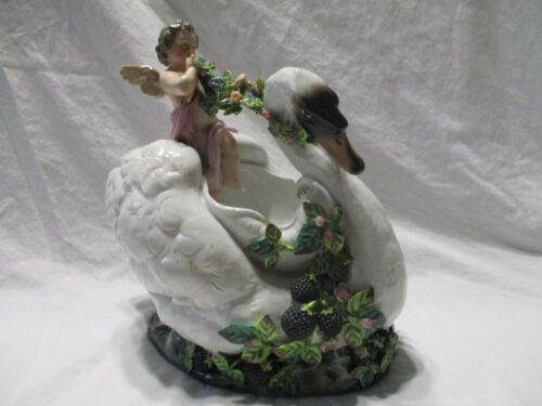 EXQUISITE ANTIQUE MEISSEN JOHANSEN ROTH LARGE FIGURAL CENTERPIECE SWAN/CHERUB