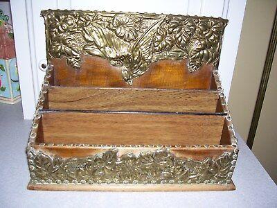 Vintage Wood Hammered Brass Letter Organizer Tray 3 Tier Desk Top Caddy Holder