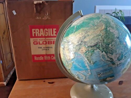"NOS Vintage RAND McNALLY 12"" WORLD PORTRAIT GLOBE W/ATLAS in ORIGINAL BOX"