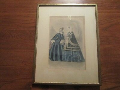 FRAMED GODEY'S WOMEN'S FASHION PRINT AD 1870s?