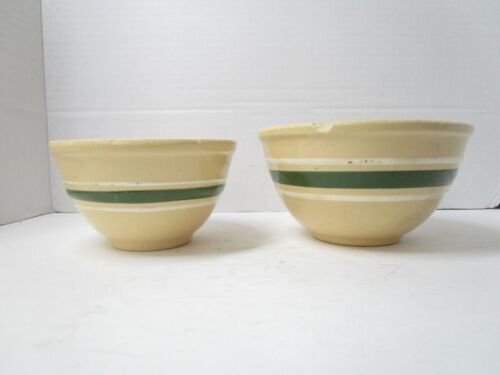 Vintage Lot of 2 Watt Pottery Ovenware Bowl Green & White Stripes Sizes 6 and 7