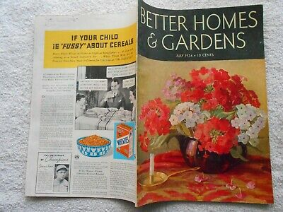 BETTER HOMES & GARDENS Magazine-JULY,1934-MILDRED PELZER COVER (Best Covering Interior Paint)