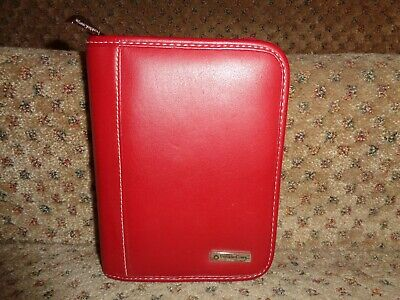 Franklin Covey Brick Red Genuine Leather Pocket Size Zipper Close Planner
