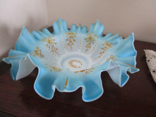 Antique Victorian Glass Bridal Bowl Blue Art Glass Enamel Flowers Excellent