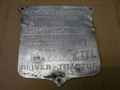 Vintage Oliver 77 Diesel Standard Tractor - Serial Plate - 1951