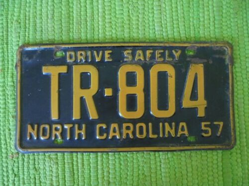 1957 North Carolina License Plate NC 57 Tag TR-804 Drive Safely