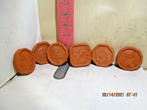 TERRA COTTA COOKIE (OR WHATEVER) STAMPS - 6 STAMPS , NO MARKS OR DAMAGE