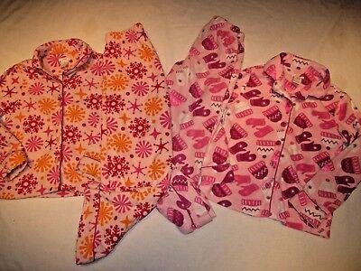 2 pairs of Girls Winter / Christmas Pajamas, size 8, medium. snowflakes, mittens