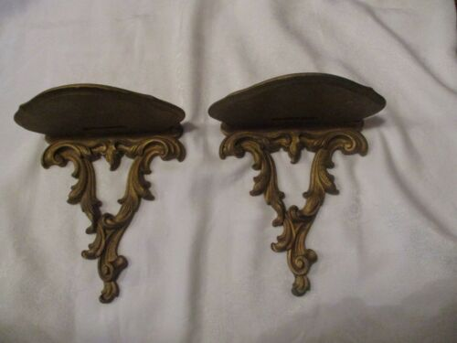 Set of 2 Vintage Syroco Wood Ornamental Gold Shelves
