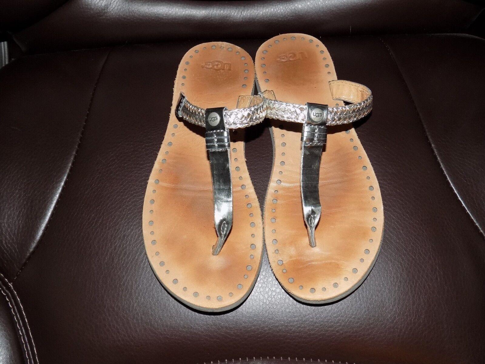 7328bbfe831 UGG Bria Metallic Silver Braided Leather Thong Sandals Size 6 Women's EUC