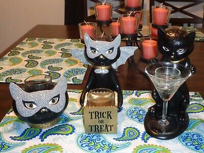 Yankee Candle SOPHIA BLACK CAT Candle Holders Halloween TRICK OR TREAT ~LOT OF 3