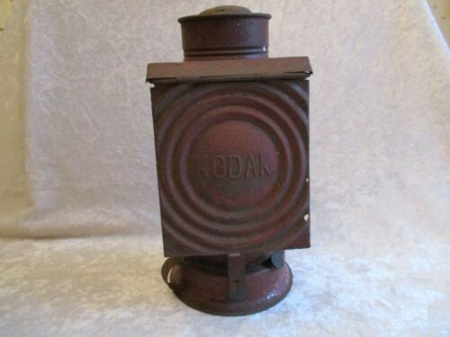 Antique Kodak Dark-Room Oil Lamp with Red Glass