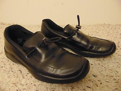 Vintage Prada Slip On Loafers Black Leather Driving Vibram Soles Shoes size 37