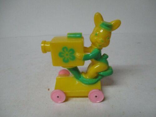 Vintage Easter Hard Plastic - Rabbit w Movie Camera on Wheels