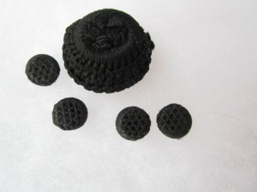 5 Vintage Buttons crochet Lace tatted cloth Victorian buttons mourning buttons
