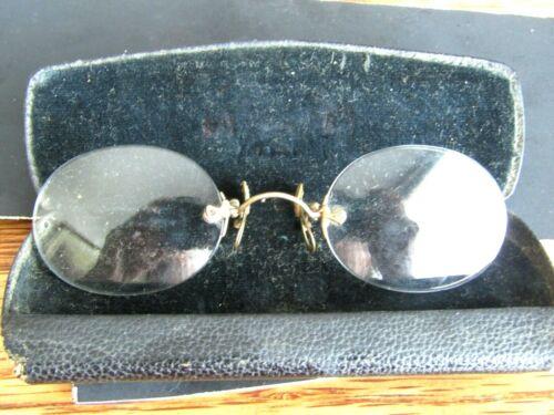 1910 SHARKSLAY PINCE NEZ EYE GLASSES IN ORIGINAL CASE OPTOMETRIST HANFORD CAL.