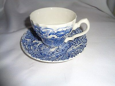 """Made In England Transferware Myott """"The Hunter"""" Blue Cup And Saucer"""