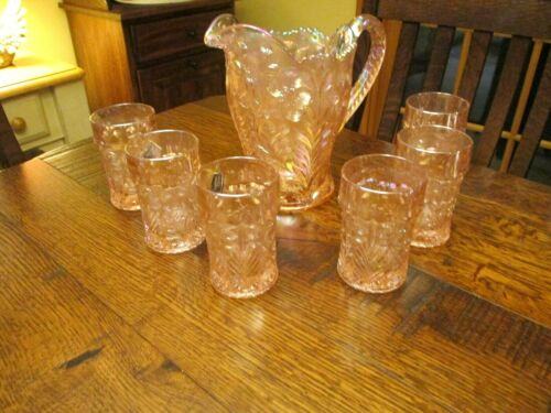 IMPERIAL LENOX GLASS TIGER LILLY PINK IRIDESCENT COLOR WATER PITCHER SET