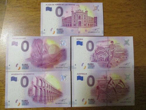 Set Of 5 Zero Euro Note