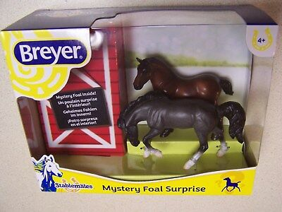 Breyer Stablemates Mystery Foal Surprise Bay Drafter and Grey Roan Rivet - NIB