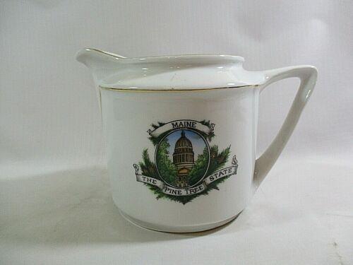 "Vtg. Maine ""The Pine Tree State"" Ceramic Souvenir Creamer Made Germany"