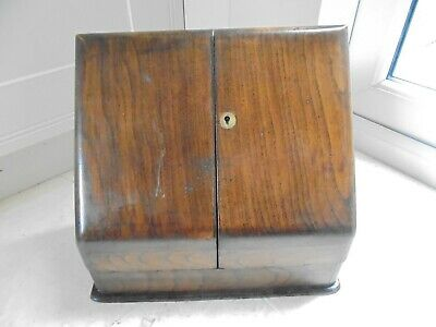 Vintage slope fronted writing cabinet, stationery box with doors, desktop