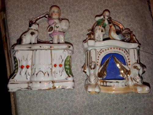 """**SALE** PAIR of Antique Porcelain """"Fairing"""" Trinket Boxes:19th c.souvenirs"""