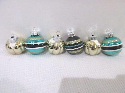 Halloween MINI Glitter Black Pumkin GLASS Ball Ornaments Decorations Set of 6