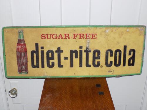 Diet-Rite Cola Sugar Free Soda Embossed Metal Sign 1961
