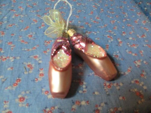 """Christmas Ornaments Old World Christmas Two Pink Ballet Toe Shoes 3"""" H w/o Loop"""