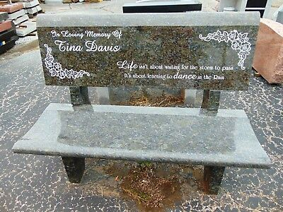 Cemetery Bench Butterfly Blue Granite Memorial Bench back engraving available