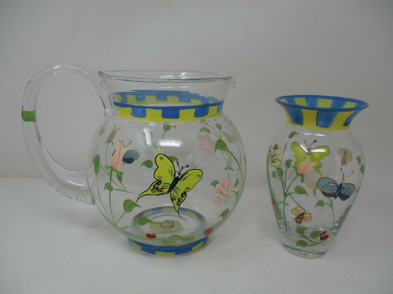 Lenox Butterfly Meadow Hand-Painted Crystal Pitcher And Vase Set