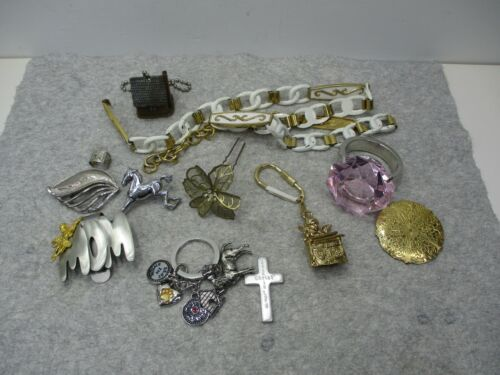 Vtg To Now Lot Estate Sale Beads Crafts Metals Necklaces Belts Key Rings
