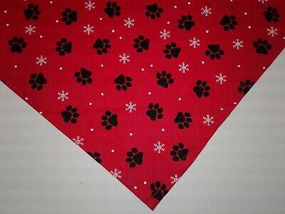 Dog Bandana/Scarf, Christmas Red, Paw Prints, Snowflakes,S,M,L,XL