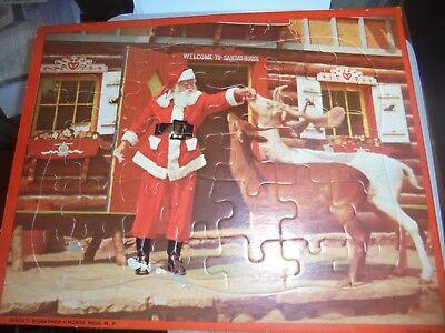 Vtg Htf Santa's Workshop North Pole NY Photo Santa's House Puzzle Reindeer