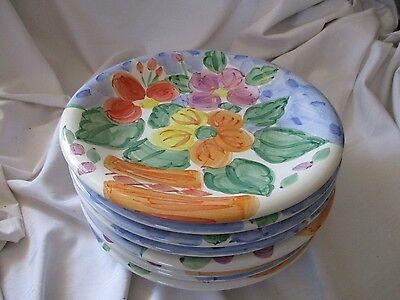 Bella Ceramica Bouquet lot of 8 salad plates blue purple flowers yellow Bouquet Blue Salad Plate
