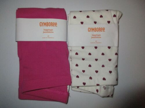 Gymboree Bundled & Bright Leggings Lot Size 2T Hearts & Solid NWT