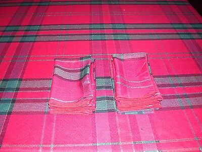 Classic Christmas Holiday Tablecloth Red Plaid AND 6 Napkins Sz 100