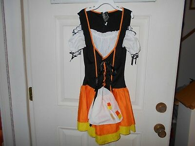 Wench  Halloween Costume Mini DressOrange&Black Sz S/M EUC  (Bar Wench Halloween)