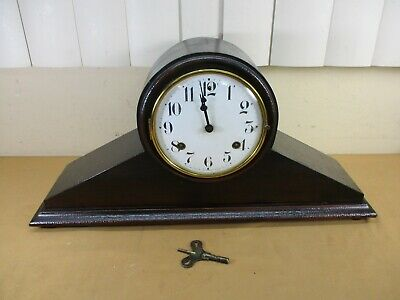Antique Waterbury Wooden Mantle Shelf Chime Clock with Pendulum & Key