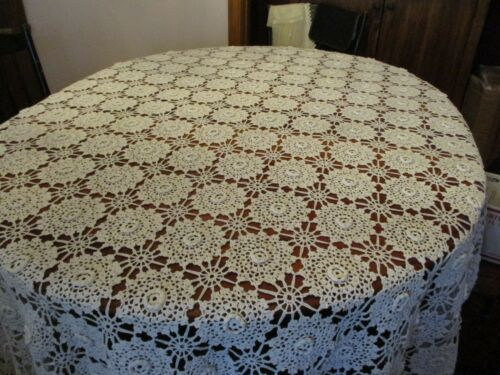 Vintage white hand crochet coverlet, bedspread, or tablecloth