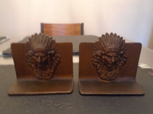 PAIR INDIAN HEAD BOOKENDS CAST IRON
