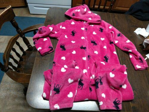 NWOT Abercrombie Kids Pink Soft Fleece Designed Hooded Sleeper Size Girl