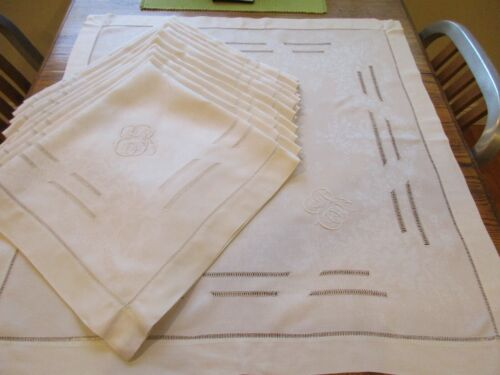 Set/12 VTG French Damask Linen Napkins Hand Monogram