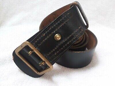 Vintage French Police Black Leather Police Belt L Paris 1970s