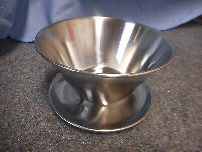 USED 1X LEONARD SILVER STAINLESS KOREA SERVING BOWL DISH CHIP DIP SALSA SHRIMP