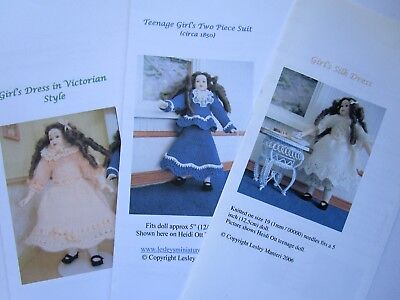 Used, Knitting Patterns - set of 3 for a 1:12 scale 4.75 inch teen girl dollhouse doll for sale  Shipping to United States