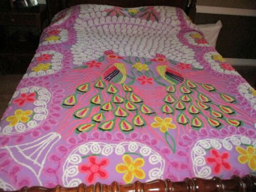 Vintage Purple Chenille Bedspread - 2 Peacocks - Very Colorful!!!