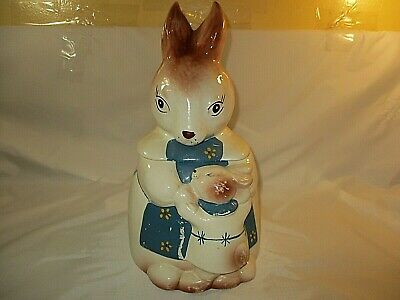 Vtg. Mother Rabbit & Baby Bunny Ceramic Cookie Jar